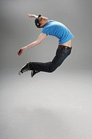 Energetic man jumping (thumbnail)