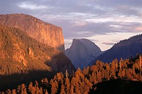 El Capitan and Half Dome, Yosemite National Park. California, USA