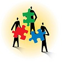 Three people holding puzzle pieces