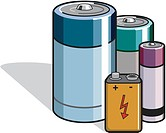 Different types of batteries illustrated on a whte background