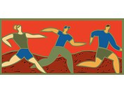 Illustration of three people running