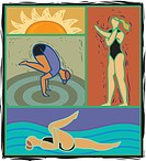 Illustration of people doing yoga