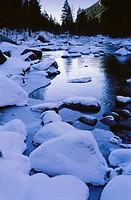 Ice on Merced River, Yosemite National Park. California, USA