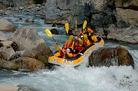 Rafting, on, river, near, Chateau, Queyras, Hautes-Alpes, France