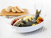 Bream on mixed vegetables