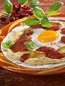 Tortilla with bean puree, cheese, tomato sauce & fried egg