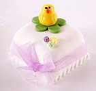 Easter cake with marzipan chick