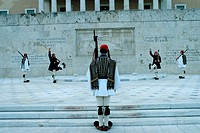 Changing, of, the, Evzonen, Guard, in, front, of, Parliament, Building, Syntagma, square, Athens, Greece