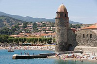 France, Collioure, public beach around Notre-Dame-des-Anges church