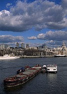 Ships, on, river, Thames, view, from, Waterloo, bridge, London, England,