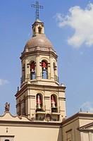 Bell, tower, convent, de, Santa, Cruz, Santiago, de, Queretaro, province, of, Queretaro, Mexico,