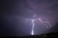 Thunderstorm, lightning, Etsch, valley, South, Tyrol, Italy, Etschtal,