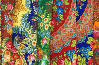 Coloured, clothes, Textile, market, Tolkucha, bazar, Ashgabat, Turkmenistan, Asgabat,