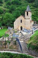 Church, with, cemetery, Saint-Chely, du, Tarn, Languedoc-Roussillon, Cevennes, France, Georges, du, Tarn,
