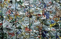 Bales, crushed, aluminium, cans, loaded on truck, transportation, materials recovery facility, recycling, reclaiming, conserving, caring, responsible ...
