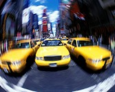 TAXI CABS TIMES SQUARE. MIDTOWN MANHATTAN. NEW YORK. USA