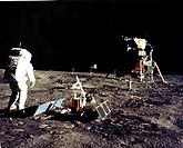 Man´s first landing on the Moon was accomplished at 4:17 p.m. today as the Lunar Module, Eagle, touched down gently on the Sea of Tranquility on the e...