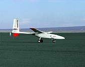 The Perseus proof_of_concept vehicle is seen here as it taxis on Rogers Dry Lake, adjacent the Dryden Flight Research Center, Edwards, California.