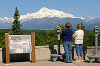 Visitors View Denali Mt McKinley Denali National Park Alaska AK U S United States along Parks Highway