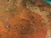 Fires are burning throughout Australia´s Northern Territory, seen here in This true_color image. The image is centered on the Macdonnell Ranges, which...
