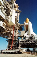 11/07/2001 __ At the launch pad, a payload canister carrying the Multi_Purpose Logistics Module Raffaello is lifted up the Rotating Service Structure ...