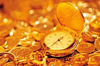 Pocket Watch And Gold Coins