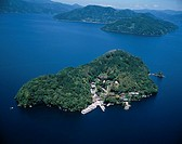 AERIAL Additional Charge Required Chikubu Island Lake Biwa Shiga Japan