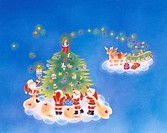 Christmas tree Santa Claus Reindeer Sleigh Present Christmas Illustration