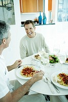 Two mature men eating (thumbnail)
