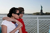 Young couple on a ferryboat (thumbnail)