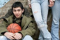 View of a young man with a basketball