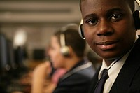 Boy 11-13 wearing headphones, portrait