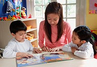 Mother reading to young children