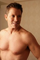 Mature man close-up, bare chest