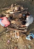 Cremation ritual, Allahabad. Uttar Pradesh, India