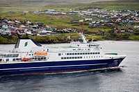 Ferry entering Port of Torshavn, Faroe Islands, Kingdom of Denmark