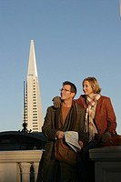 Mature couple with Transamerica Pyramid in the background