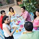 High angle view of a mid adult couple with their friends having food
