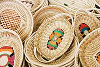 Close-up of wicker baskets