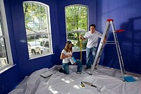 Portrait of a cheerful young couple with step ladder and paint roller in house
