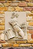 Da Vinci coat_of_arms on the wall of a farmhouse in Anchiano, a village near Vinci, Italy. This is thought to be where the Italian artist, architect a...
