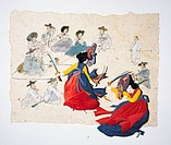 Paper Illustration, women dancing in Korean costume