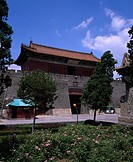 Dai Mausoleum, Zhenyangmen, World Heritage, Taian, Shandong, China, blue sky, cloud, tree, flower, plant, green, gate, August