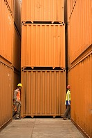 Side profile of two dock workers walking at a commercial dock