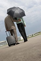 Rear view of a businessman and a businesswoman walking at an airport