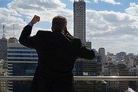 Rear view of businessman with fist in air and on the phone
