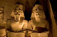 The Temple of Ramesses II _ Two of the four statues of Ramesses II at the temple´s gate at night