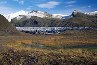 Iceland, Scenic view of mountains with river
