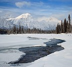 Mount Fryatt and the Athabasca River Jasper National Park Alberta, Canada.