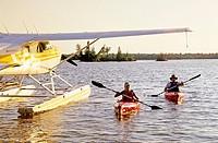 Kayaking, Otter Falls, Whiteshell Provincial Park, Manitoba, Canada.